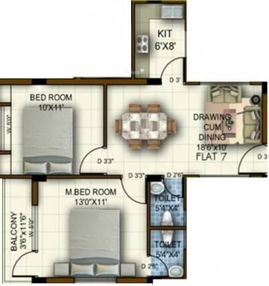 Jagannath Warriors Residencya (2BHK+2T (936 sq ft) Apartment 936 sq ft)