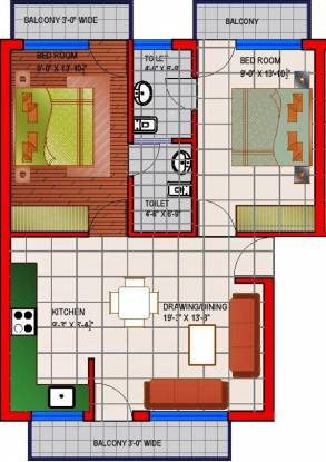 Dara Gold Homes (2BHK+2T (1,100 sq ft) Apartment 1100 sq ft)