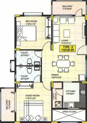 Sahithi Daisy (2BHK+2T (1,125 sq ft) Apartment 1125 sq ft)