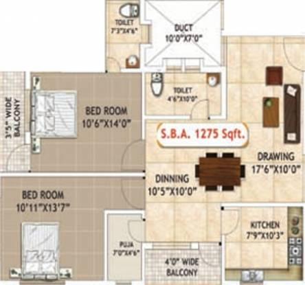 Khushi Prestige (2BHK+1T (1,275 sq ft) + Pooja Room Apartment 1275 sq ft)