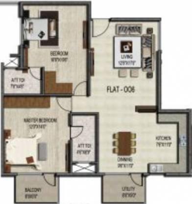 Unique Concord (2BHK+2T (1,196 sq ft) Apartment 1196 sq ft)