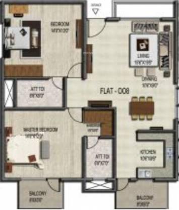 Unique Concord (2BHK+2T (1,236 sq ft) Apartment 1236 sq ft)