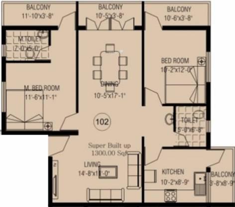 Rai REB Nest (2BHK+2T (1,300 sq ft) Apartment 1300 sq ft)