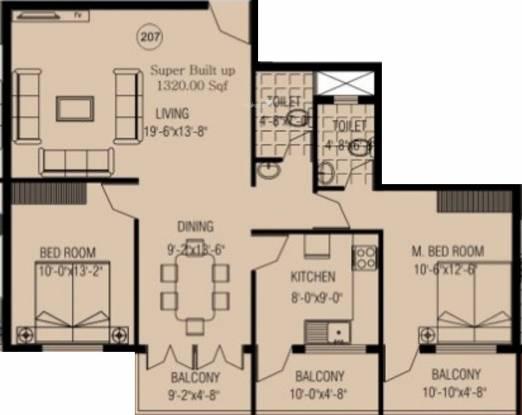 Rai REB Nest (2BHK+2T (1,320 sq ft) Apartment 1320 sq ft)