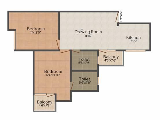 Pushpanjali Habitat (2BHK+2T (1,050 sq ft) Apartment 1050 sq ft)