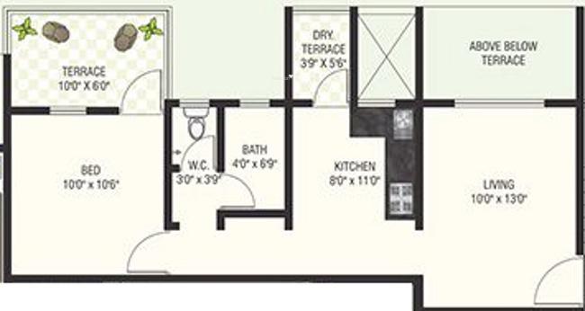 Veddant Ganesh Bella Rossa (1BHK+2T (639 sq ft) Apartment 639 sq ft)