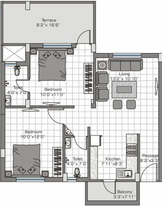 Pushkar Spring Garden Phase 2 (2BHK+2T (850 sq ft) Apartment 850 sq ft)