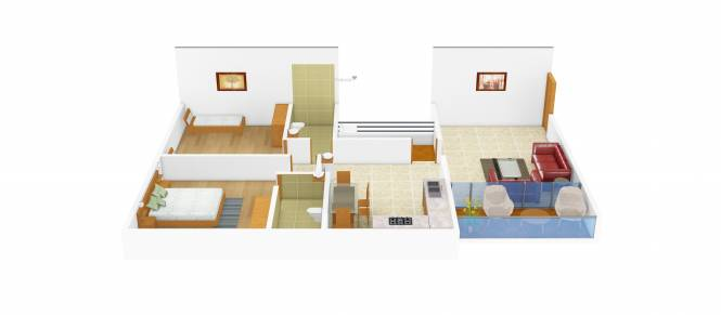 Perfect Green Mind (2BHK+2T (974 sq ft) Apartment 974 sq ft)