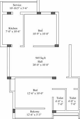 Sumangali Vaishnavi Enclave (2BHK+2T (945 sq ft) Apartment 945 sq ft)