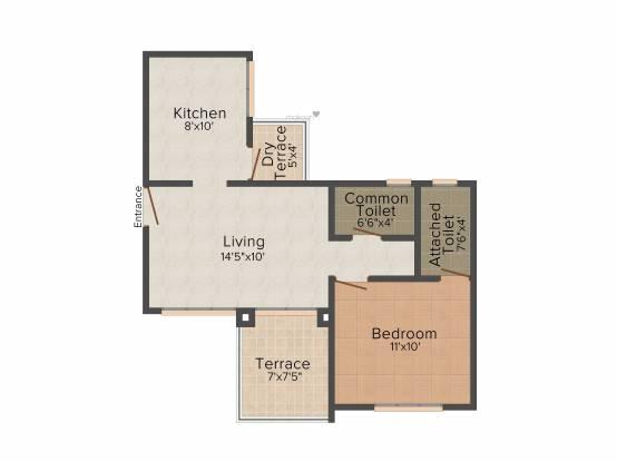 Ellora The Address (1BHK+1T (668 sq ft) Apartment 668 sq ft)