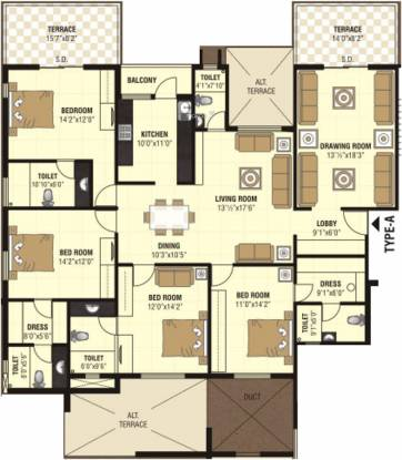 Nanik A Square (4BHK+5T (2,817 sq ft) Apartment 2817 sq ft)