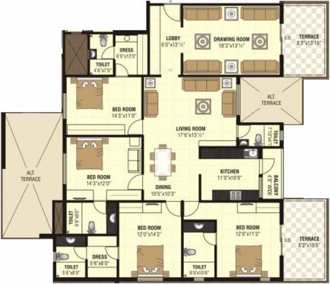 Nanik A Square (4BHK+5T (2,786 sq ft) Apartment 2786 sq ft)