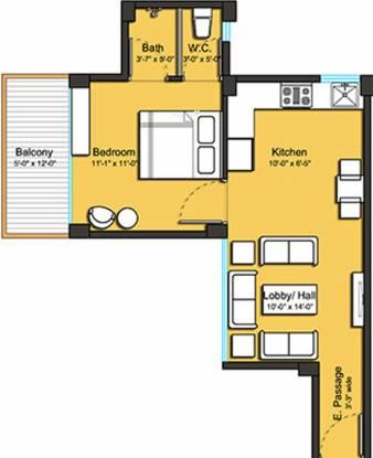 Tulip Lemon (1BHK+1T (444 sq ft) Apartment 444 sq ft)
