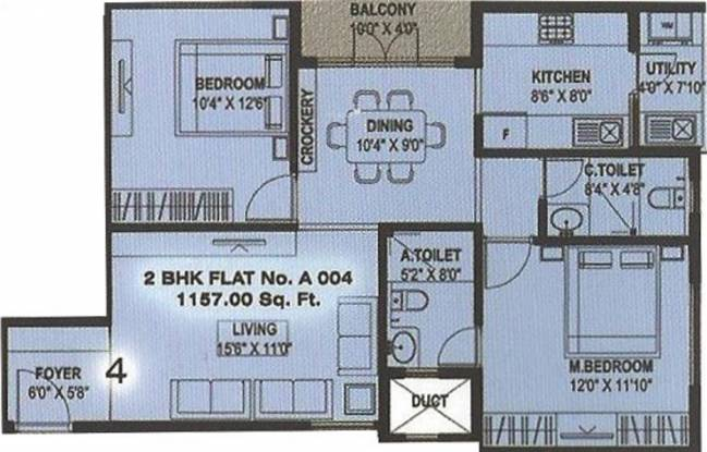 Star West Side Classic (2BHK+2T (1,157 sq ft) Apartment 1157 sq ft)