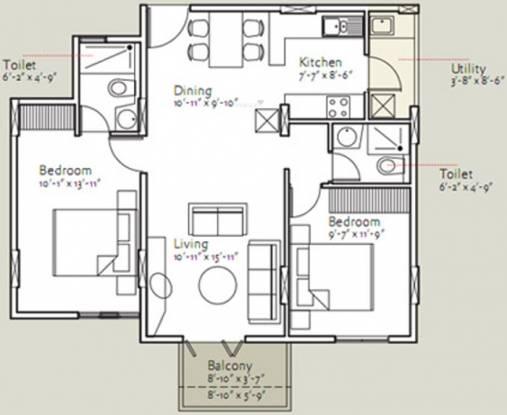 Bearys Anugraha (2BHK+2T (1,025 sq ft) Apartment 1025 sq ft)