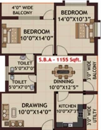 Khushi Harmony (2BHK+2T (1,155 sq ft) Apartment 1155 sq ft)