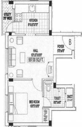 Building Lavender Home (1BHK+1T (557 sq ft) Apartment 557 sq ft)