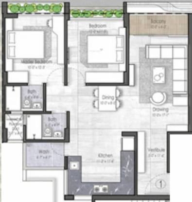 Unity Domain Heights (2BHK+2T (1,372 sq ft) Apartment 1372 sq ft)