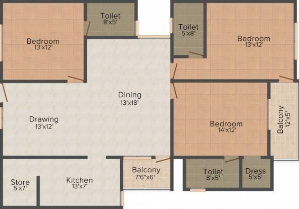 Shri Balaji Residency (3BHK+3T (1,600 sq ft) Apartment 1600 sq ft)