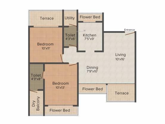 Bhagwati Greens 1 (2BHK+2T (1,350 sq ft) Apartment 1350 sq ft)