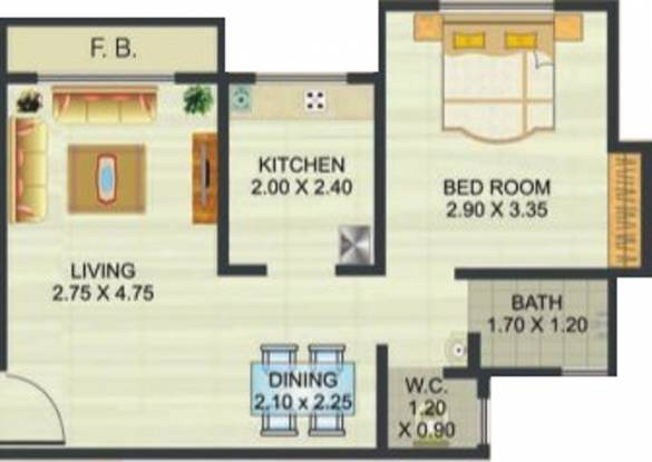 Reliable Heights (1BHK+1T (450 sq ft) Apartment 450 sq ft)