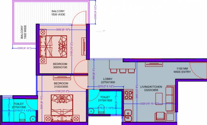 SRS Hightech Affordable Homes (2BHK+2T (583 sq ft) Apartment 583 sq ft)