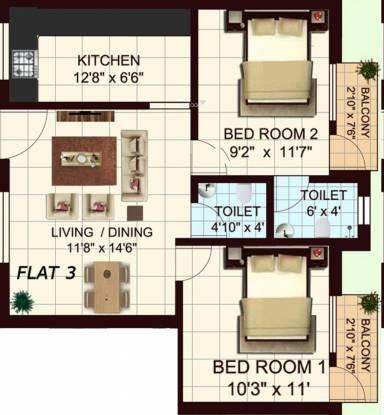 Ubiqon Mabel (2BHK+2T (790 sq ft) Apartment 790 sq ft)