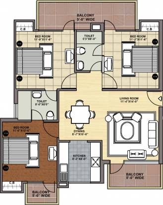 Maxheights My Floors (3BHK+2T (1,395 sq ft) Apartment 1395 sq ft)