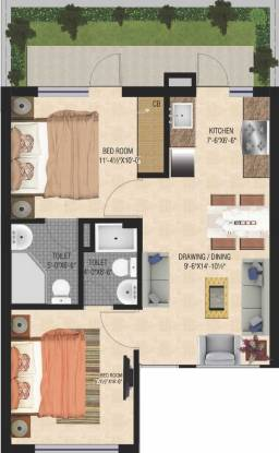 GBP Eco Greens Floors (2BHK+2T (780 sq ft) Apartment 780 sq ft)