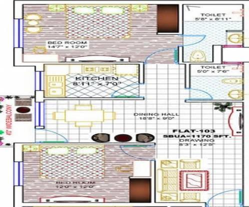 Archid Rudraya (2BHK+2T (1,170 sq ft) Apartment 1170 sq ft)