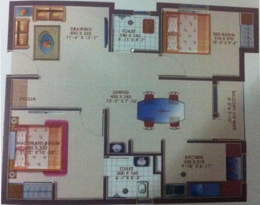 Deccan Apporva (2BHK+2T (924 sq ft)   Pooja Room Apartment 924 sq ft)
