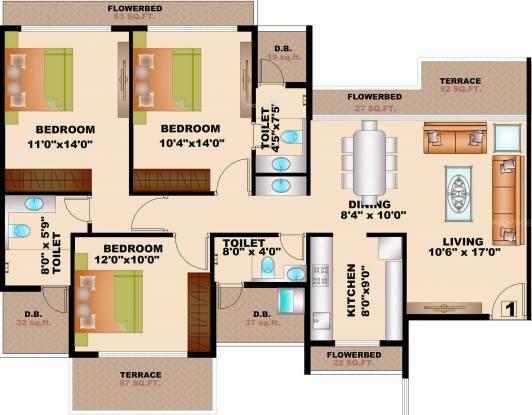 Bhagwati Greens 1 (3BHK+3T (1,995 sq ft) Apartment 1995 sq ft)