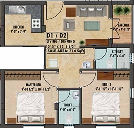 Ranga Gomathi (2BHK+2T (714 sq ft) Apartment 714 sq ft)