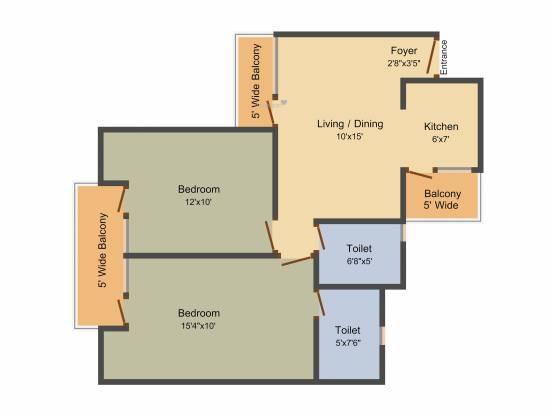 Panchsheel Greens 2 (2BHK+2T (1,060 sq ft) Apartment 1060 sq ft)