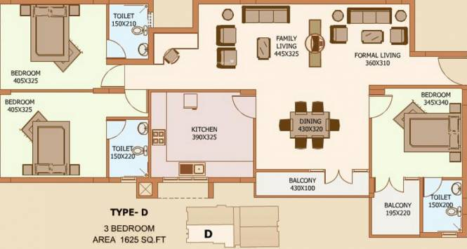 Royal Projects West (3BHK+3T (1,625 sq ft) Apartment 1625 sq ft)
