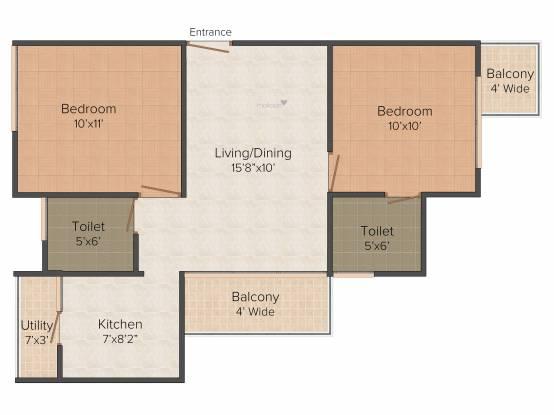 Subha Nandana (2BHK+2T (953 sq ft) Apartment 953 sq ft)