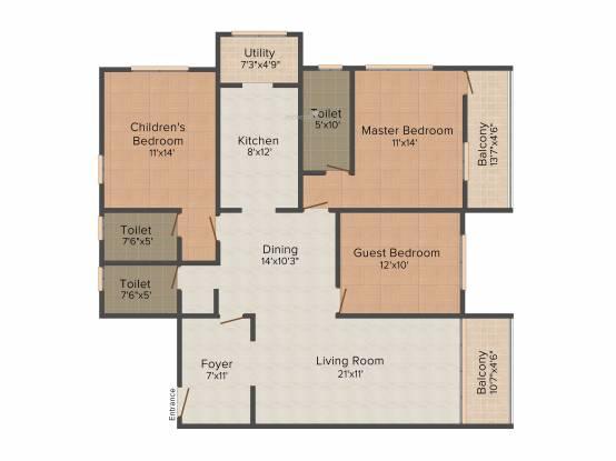 Nirmaan Gokul Residency (3BHK+3T (1,750 sq ft) Apartment 1750 sq ft)