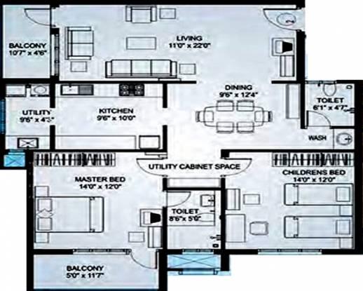 Nirmaan Bhargavi Gloria Residency (2BHK+2T (1,195 sq ft) Apartment 1195 sq ft)