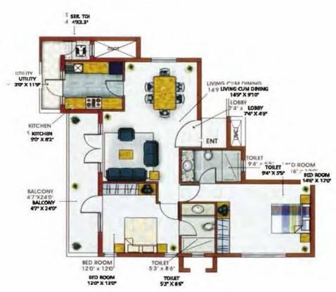MRG Aahika (2BHK+2T (1,450 sq ft) Apartment 1450 sq ft)