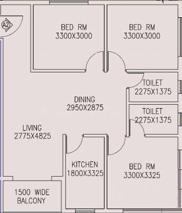 Jain Dream One (3BHK+2T (1,240 sq ft) Apartment 1240 sq ft)