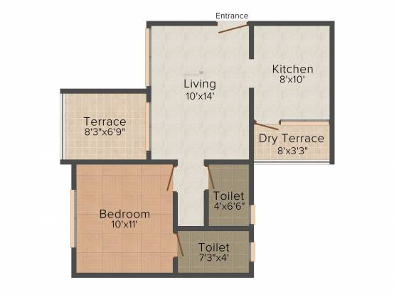 GK Jhulelal Towers (1BHK+1T (643 sq ft) Apartment 643 sq ft)