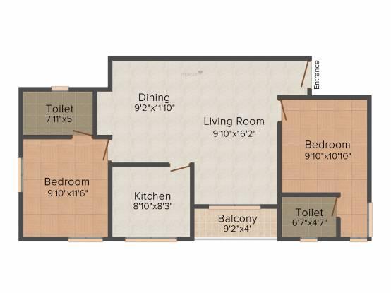 Jewel Radius (2BHK+2T (1,025 sq ft) Apartment 1025 sq ft)