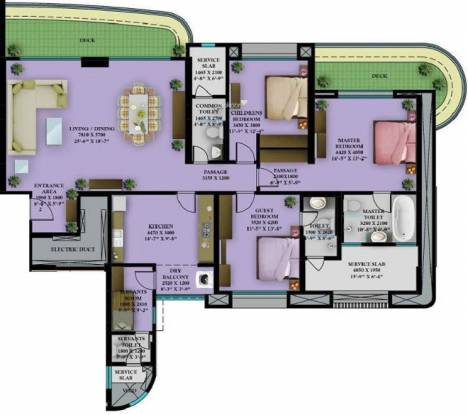 Nahar Burberry and Bryony (3BHK+4T (2,356 sq ft) + Servant Room Apartment 2356 sq ft)