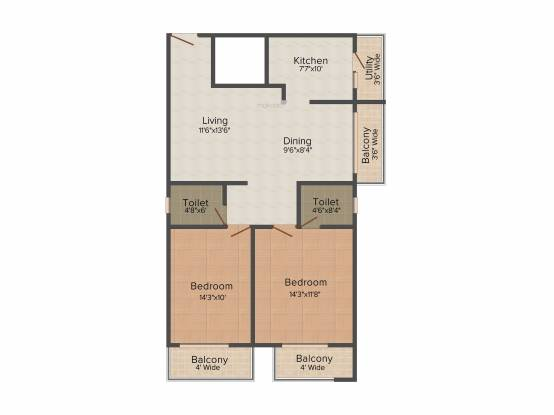 Rajarajeshware RR Elegance (2BHK+2T (1,325 sq ft) Apartment 1325 sq ft)