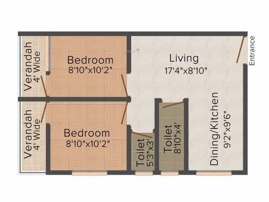 RBM Valley (2BHK+2T (900 sq ft) Apartment 900 sq ft)