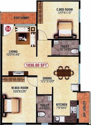 SLV SV Homes (2BHK+2T (1,036 sq ft) Apartment 1036 sq ft)