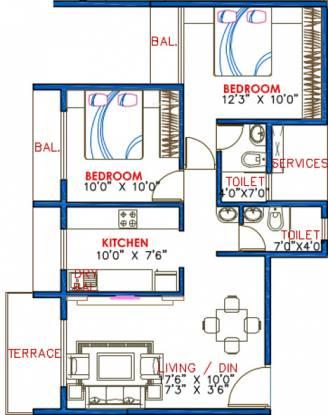 Lakhani Aura (2BHK+2T (1,105 sq ft) Apartment 1105 sq ft)