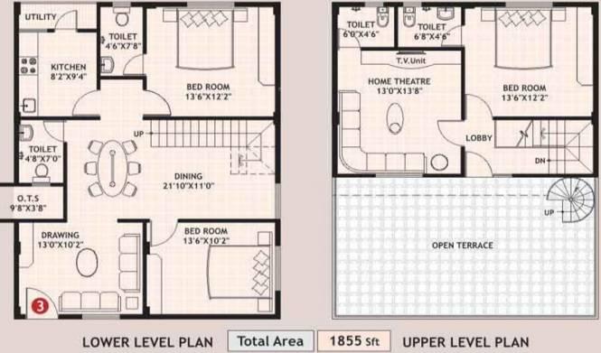 Amrutha Sparkling Nest (3BHK+4T (1,855 sq ft) Apartment 1855 sq ft)