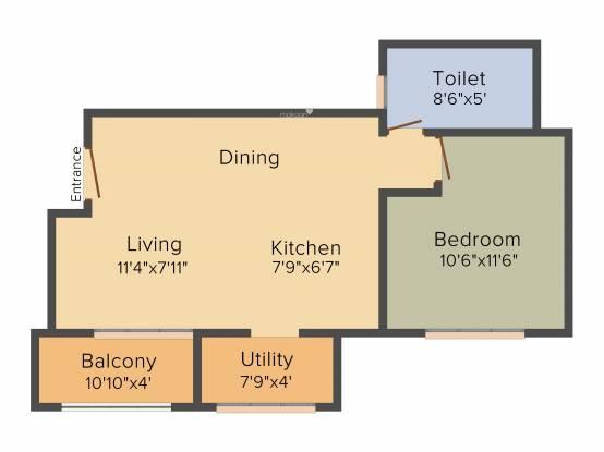 Esteem Emblem (1BHK+1T (690 sq ft) Apartment 690 sq ft)