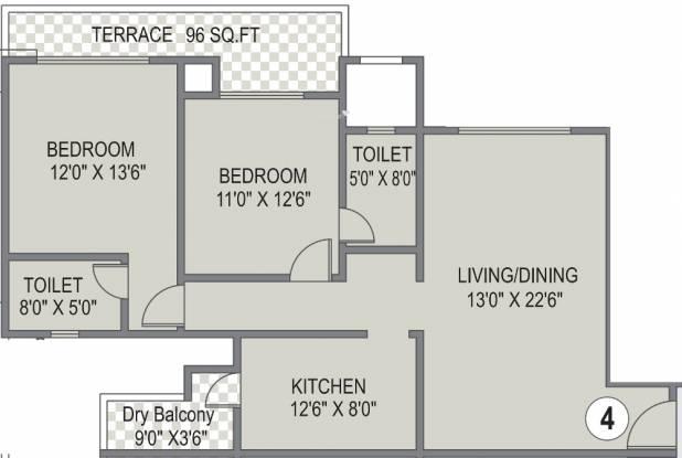 Karia Konark Bella Vista (2BHK+2T (1,373 sq ft) Apartment 1373 sq ft)